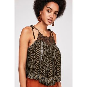 NWT Free People Printed High Neck Appliqué Tank